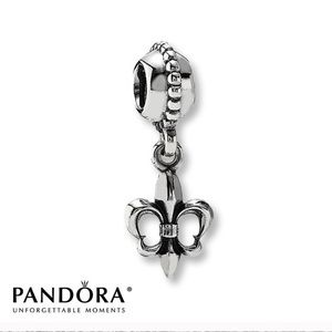 Pandora Authentic Fleur De Lis Dangle Charm Silver